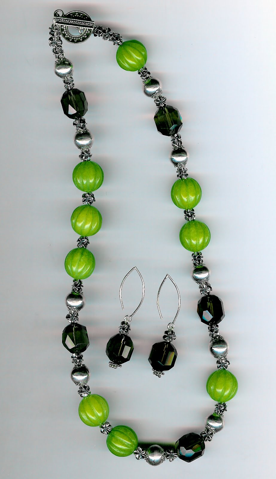 216. Green Jade, Smoky Topaz, Bali Sterling Silver + Earrings