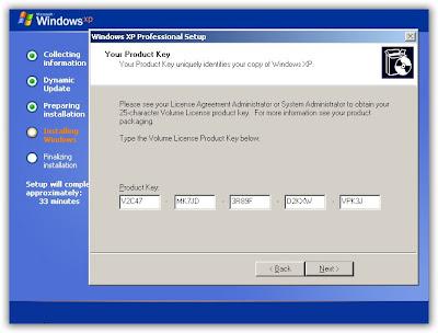 xp professional key:
