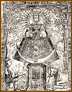 Grabado antiguo de la Virgen de Caños Santos