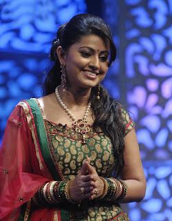 Sneha in Spicy saree on a TV Show Azhagiya Tamizh Magan on Vijaya TV