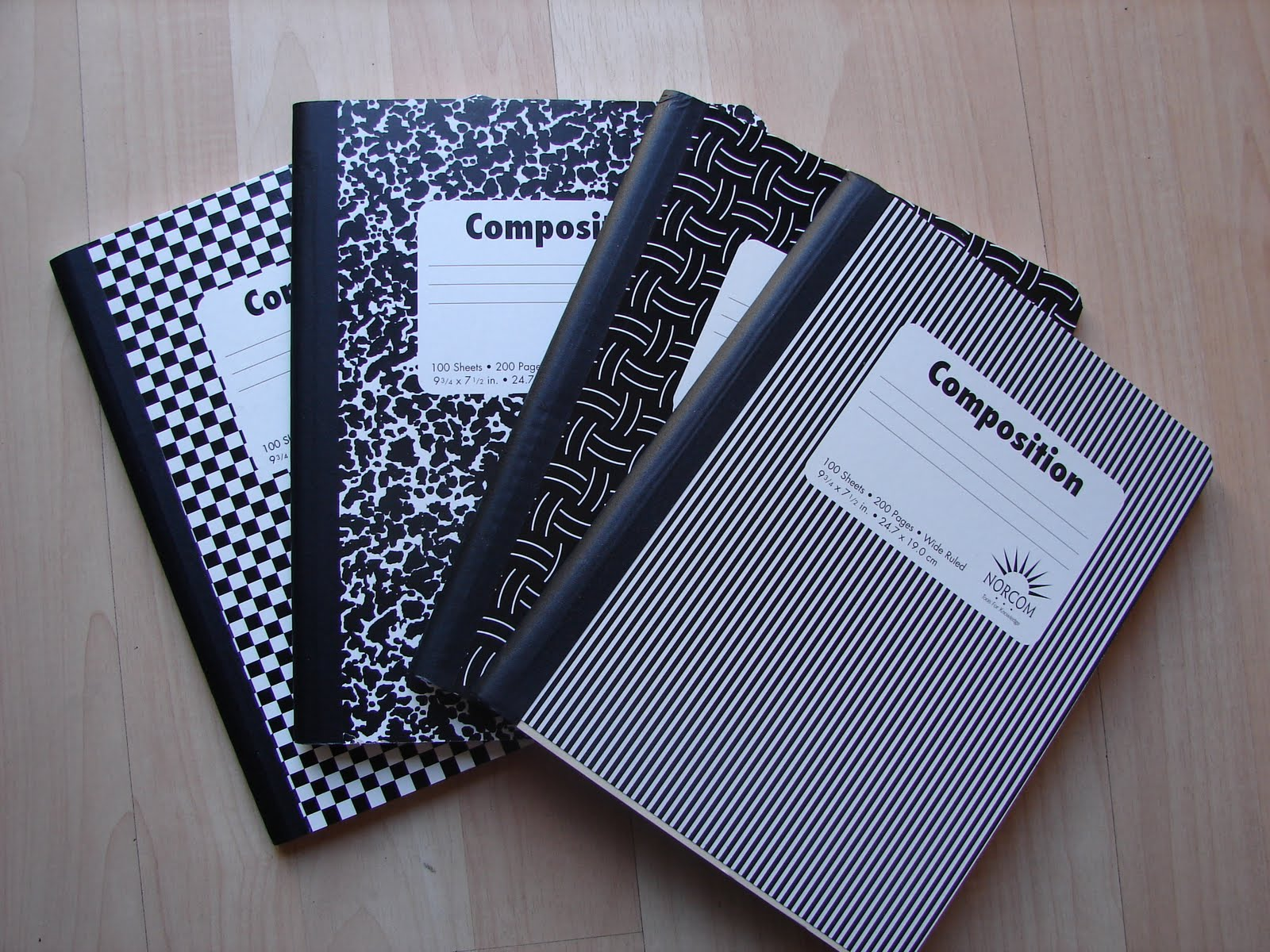 fabric covered compositon books - A girl and a glue gun