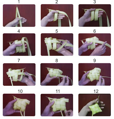 cara membuat ketupat,merangkai janur