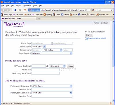 Halaman Pendaftaran Yahoo! - Image by MeNDHo.com