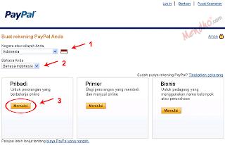 Memilih tipe rekening PayPal - Image by MeNDHo.com