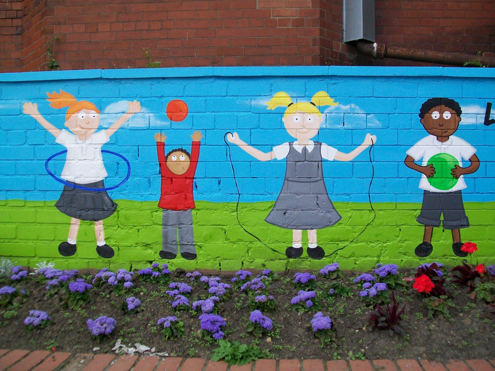 Crayons and children murals lynda nelson illustration for Children s mural