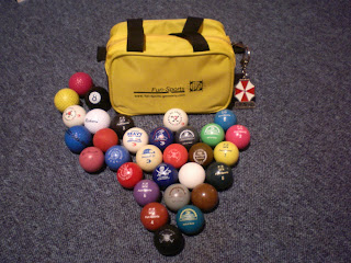 Minigolf sport balls and a Funsports kitbag