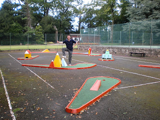 Richard Gottfried playing on the Crazy Golf course at Conyngham Hall Grounds in Knaresborough
