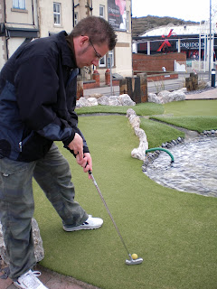 Richard Gottfried playing the Adventure Golf course at Blackpool Pleasure Beach