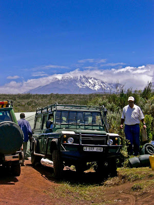 Unpacking the jeep on Kilimanjaro