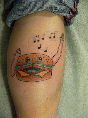 Singing hamburger tattoo