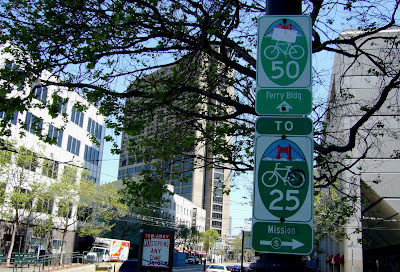 Bike route signage on Market Street in San Francisco