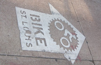 Image of Bike St. Louis street marking