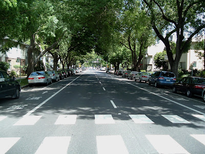Image of one-way street with double bike lanes in Sacramento