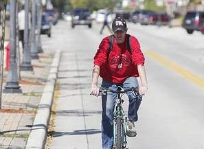 Image of bicyclist in Sheboygan, Wisconsin