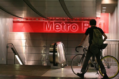 Image of bicyclist at Los Angeles Metro station