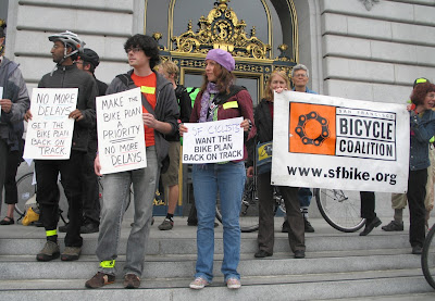Image of San Francisco Bicycle Coalition protest at City Hall