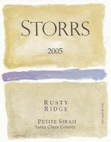 Storrs 2005 Petite Syrah Rusty Ridge old vines label
