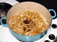 Onions browing in Dutch oven