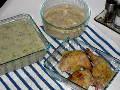 Leftover potato leek soup and roasted chicken with gravy