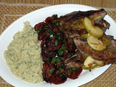 Stuffed pork chops with roasted tomatoes and spätzle