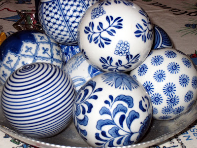 Blue China spheres