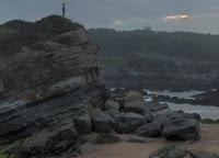 La gaviota otea el horizonte esperando la comida, la estauta hace de posadera