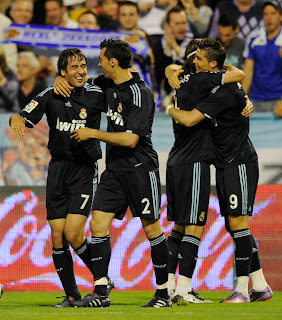Raul celebrating, C.Ronaldo with Sergio Ramos