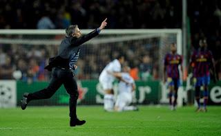 Mourinho vs Barcelona , mourinho celebrating