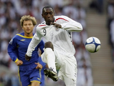 Emile Heskey of England passes the ball during the match against Kazakhstan during the FIFA World Cup European Qualifying group 6 football match at Wembley Stadium in London on October 11, 2008.