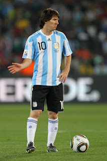 Lionel Messi of Argentina's national football team  during 2010 FIFA World Cup South Africa Group B, Match between Argentina and Nigeria at Ellis Park Stadium on June 12 in Johannesburg, South Africa.