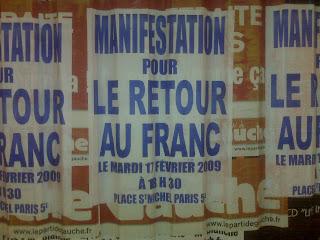 Manifestation pour le vieux Franc Francais