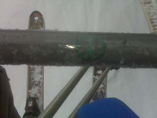 Ski Lift Shot - Peace and Love Symbol