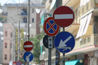 Street signposts in Salerno, Italy