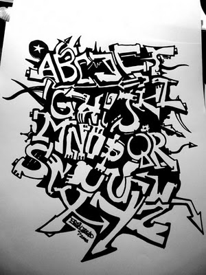 Cool tribal complete (A to Z and the numbers) of graffiti alphabets,