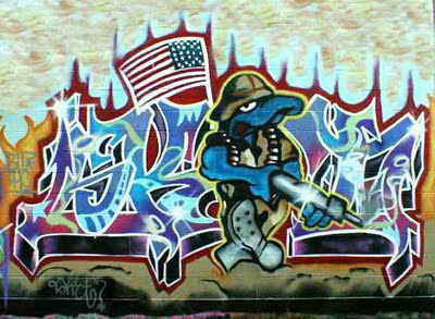 Graffiti Street Art, Graffiti waving American flag graphics