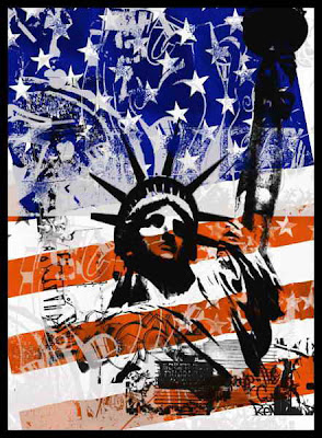 Graffiti waving American flag graphics