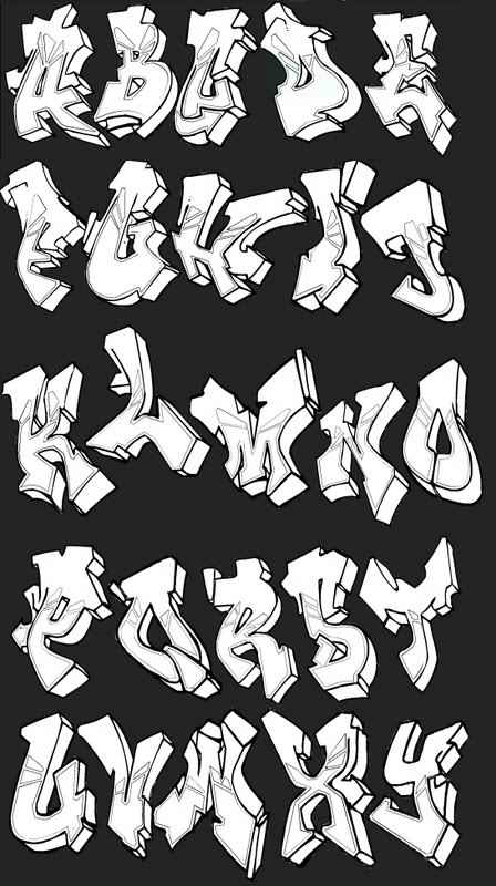 cool graffiti alphabet styles. Examples of graffiti alphabets