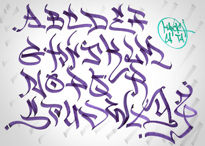 Sketch graffiti alphabet paper