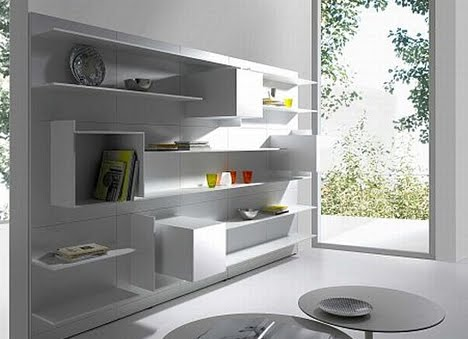 White Shelf Furniture Design as Home Decor Abstract