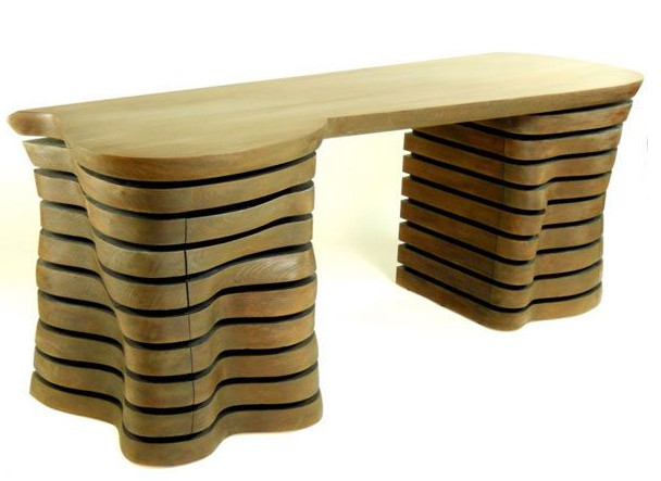 Desk Design Made Of Wood Light Brown Color Table Design Unique And