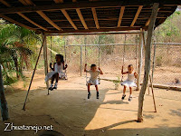 the swings at the kindergarten playground