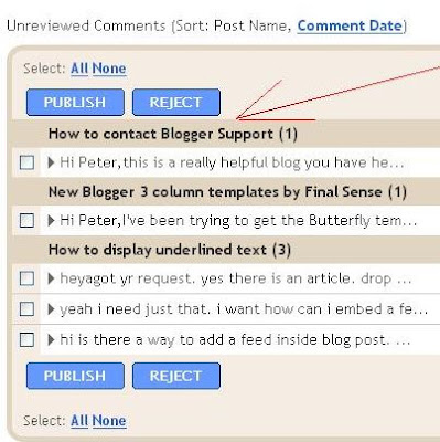 List of comments with post titles waiting for moderatation in Dashboard