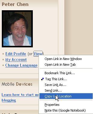 Blogger Profile URL