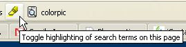 Google toolbar toggle highlighting of search terms in a page