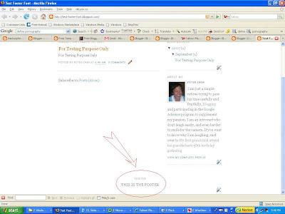 change Blogger blog footer font size