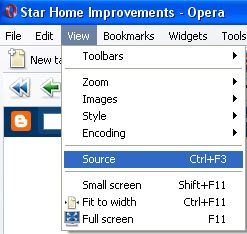 Opera browser view page source code