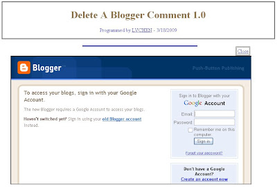 Blogger log in page for delete comment utility
