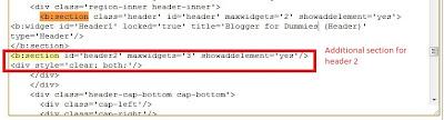 Edit template HTML add section for split blog header