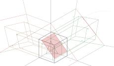Trimetria de um Cubo seccionado por um Plano de Rampa