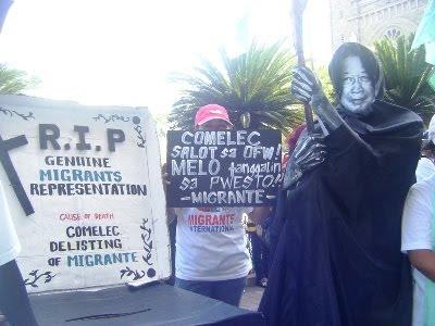 Migrante denounces Comelec as a tool for political repression